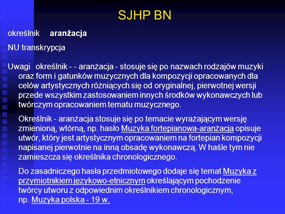 SJHP BN określnik aranżacja NU transkrypcja Uwagi określnik - - aranżacja - stosuje się po nazwach rodzajów muzyki oraz form i gatunków muzycznych dla