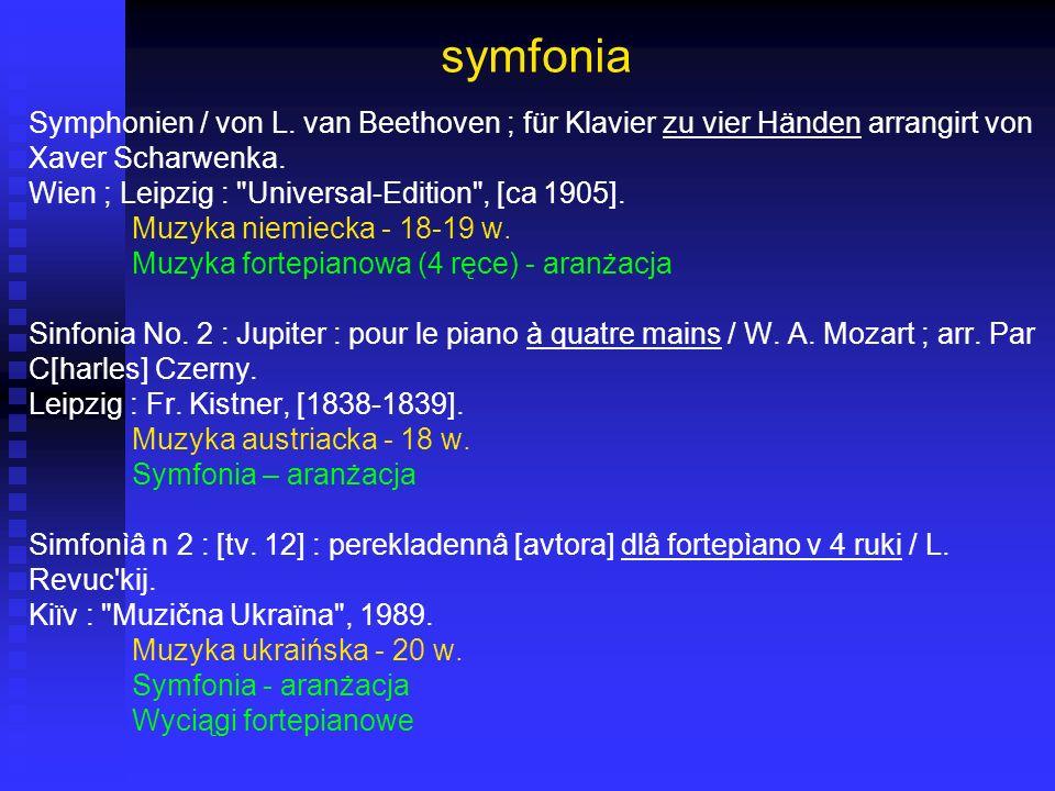 symfonia Symphonien / von L. van Beethoven ; für Klavier zu vier Händen arrangirt von Xaver Scharwenka. Wien ; Leipzig :