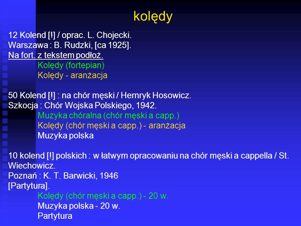kolędy 12 Kolend [!] / oprac. L. Chojecki. Warszawa : B. Rudzki, [ca 1925]. Na fort. z tekstem podłoż. Kolędy (fortepian) Kolędy - aranżacja 50 Kolend