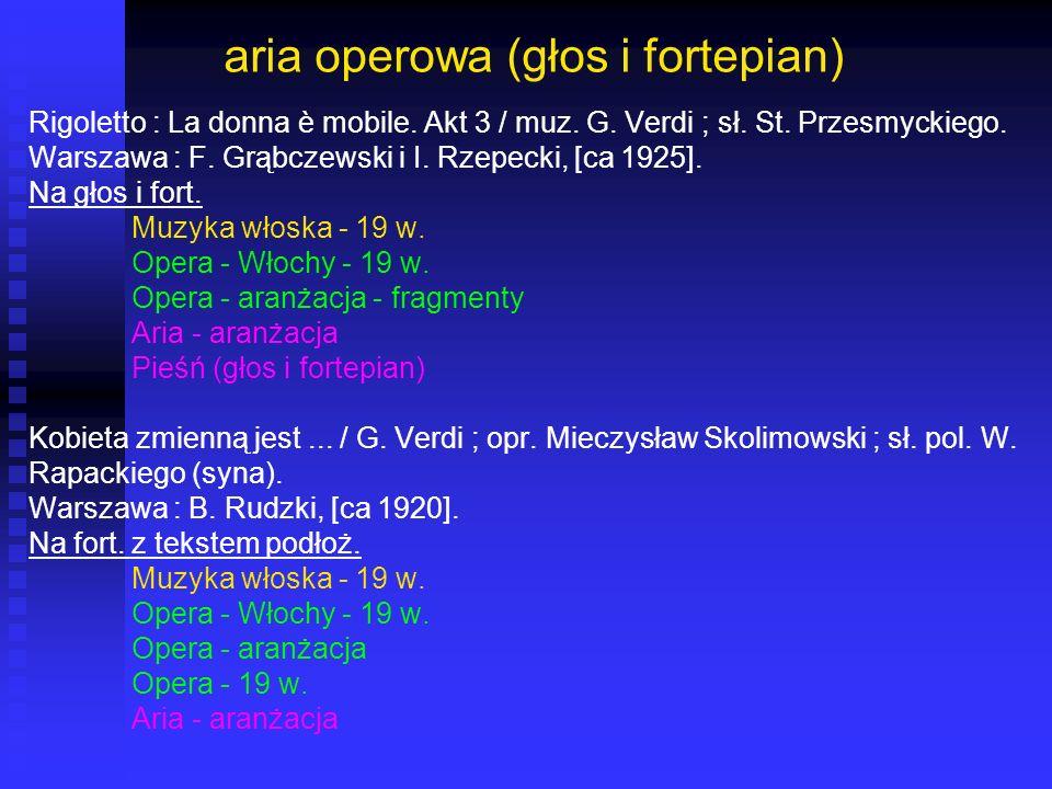 aria operowa (głos i fortepian) Rigoletto : La donna è mobile. Akt 3 / muz. G. Verdi ; sł. St. Przesmyckiego. Warszawa : F. Grąbczewski i I. Rzepecki,
