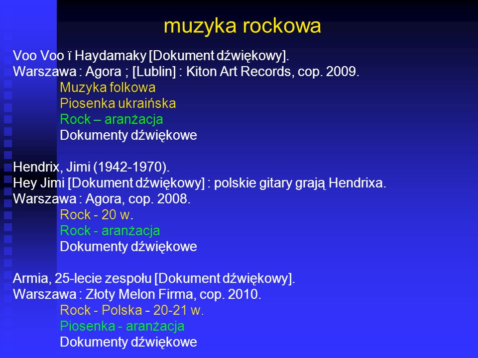 muzyka rockowa Voo Voo ï Haydamaky [Dokument dźwiękowy]. Warszawa : Agora ; [Lublin] : Kiton Art Records, cop. 2009. Muzyka folkowa Piosenka ukraińska