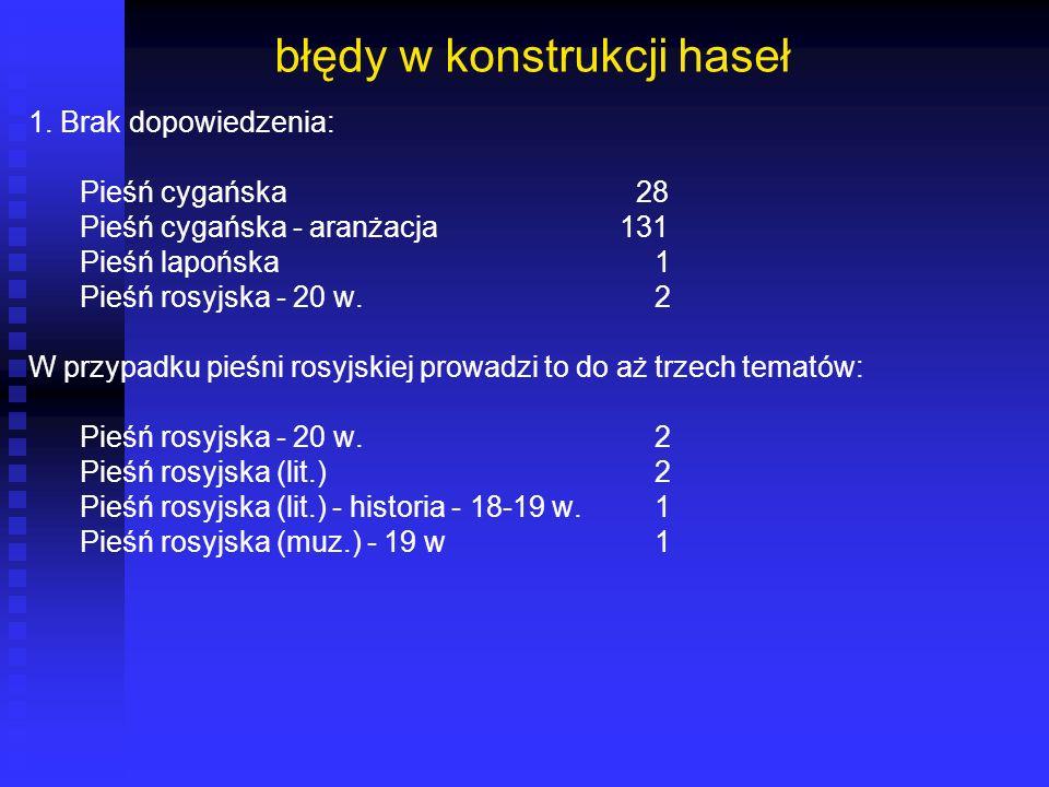 błędy w konstrukcji haseł 1. Brak dopowiedzenia: Pieśń cygańska 28 Pieśń cygańska - aranżacja 131 Pieśń lapońska 1 Pieśń rosyjska - 20 w. 2 W przypadk