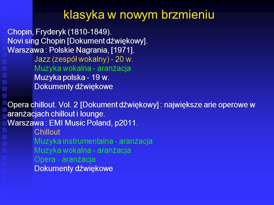 klasyka w nowym brzmieniu Chopin, Fryderyk (1810-1849). Novi sing Chopin [Dokument dźwiękowy]. Warszawa : Polskie Nagrania, [1971]. Jazz (zespół wokal