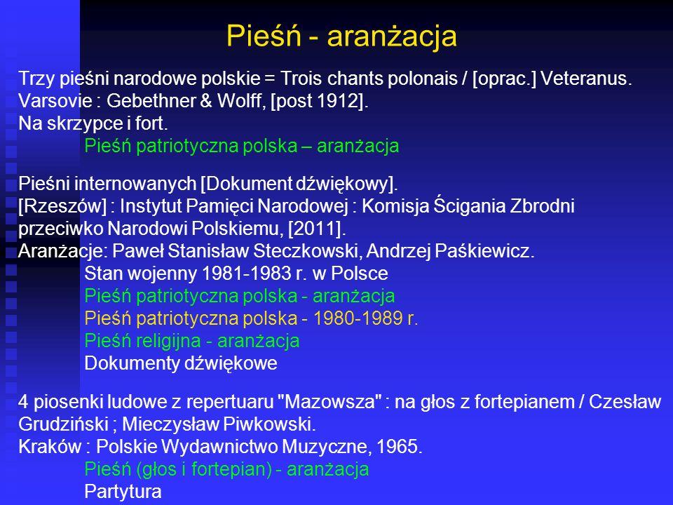 Pieśń - aranżacja Trzy pieśni narodowe polskie = Trois chants polonais / [oprac.] Veteranus. Varsovie : Gebethner & Wolff, [post 1912]. Na skrzypce i
