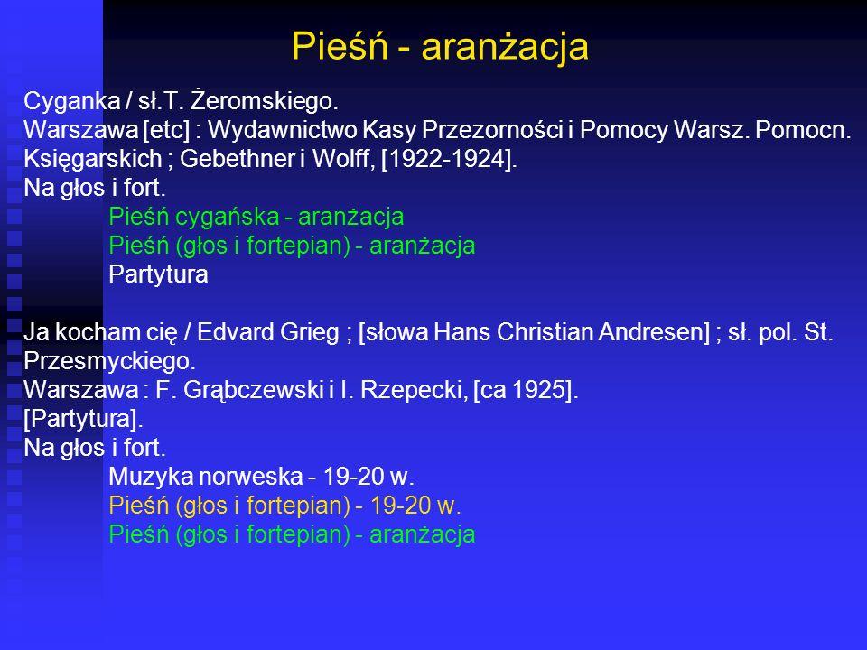 Pieśń - aranżacja Cyganka / sł.T. Żeromskiego. Warszawa [etc] : Wydawnictwo Kasy Przezorności i Pomocy Warsz. Pomocn. Księgarskich ; Gebethner i Wolff