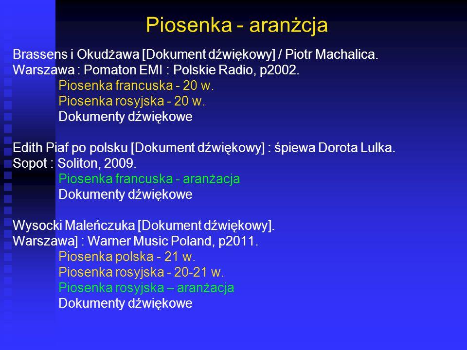 Piosenka - aranżcja Brassens i Okudżawa [Dokument dźwiękowy] / Piotr Machalica. Warszawa : Pomaton EMI : Polskie Radio, p2002. Piosenka francuska - 20