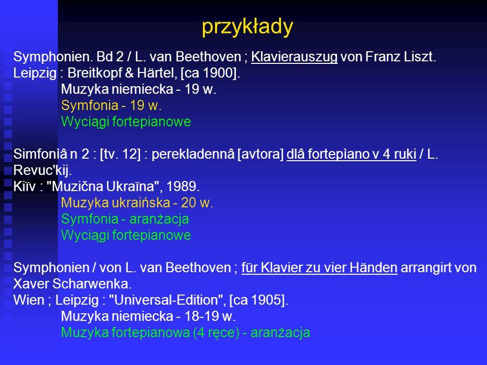 przykłady Symphonien. Bd 2 / L. van Beethoven ; Klavierauszug von Franz Liszt. Leipzig : Breitkopf & Härtel, [ca 1900]. Muzyka niemiecka - 19 w. Symfo