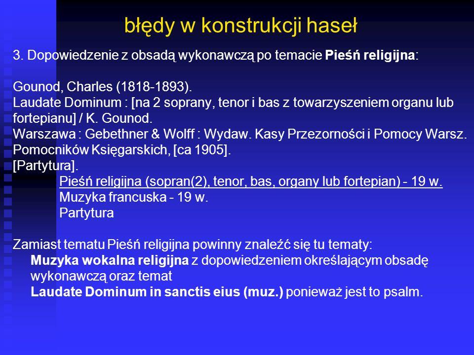 błędy w konstrukcji haseł 3. Dopowiedzenie z obsadą wykonawczą po temacie Pieśń religijna: Gounod, Charles (1818-1893). Laudate Dominum : [na 2 sopran