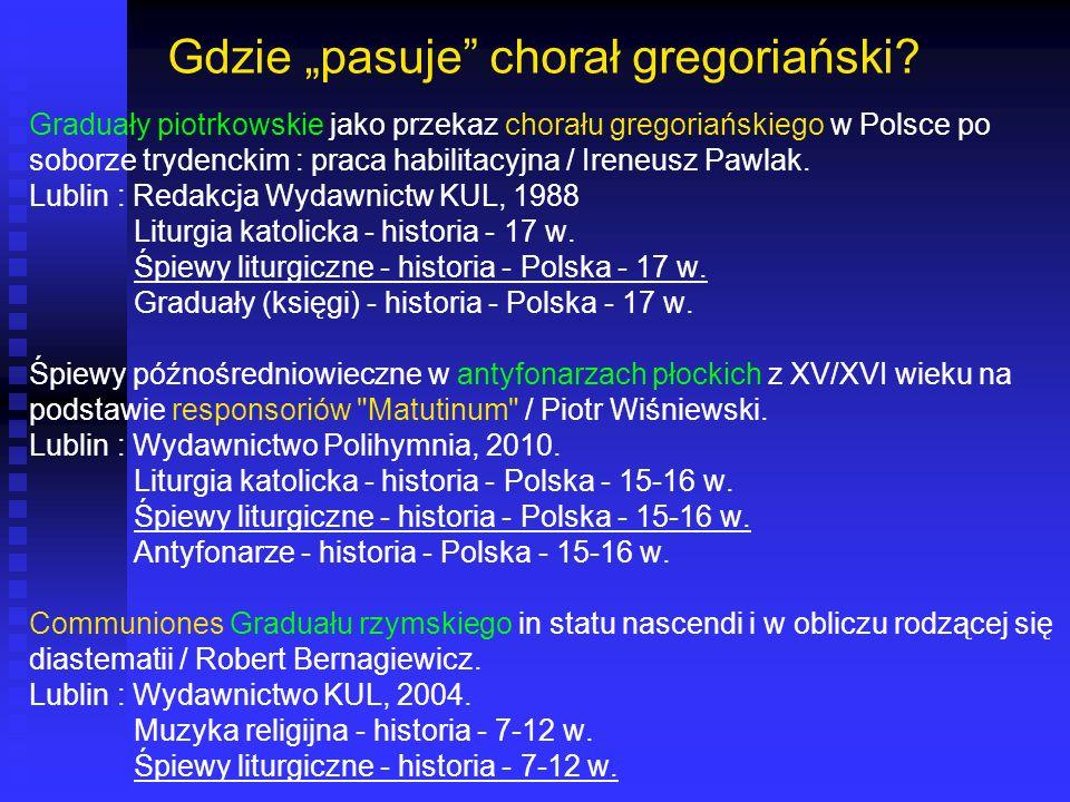 Gdzie pasuje chorał gregoriański? Graduały piotrkowskie jako przekaz chorału gregoriańskiego w Polsce po soborze trydenckim : praca habilitacyjna / Ir