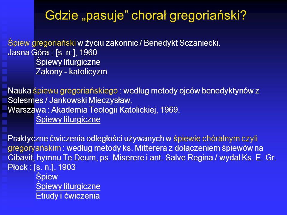 Gdzie pasuje chorał gregoriański? Śpiew gregoriański w życiu zakonnic / Benedykt Sczaniecki. Jasna Góra : [s. n.], 1960 Śpiewy liturgiczne Zakony - ka