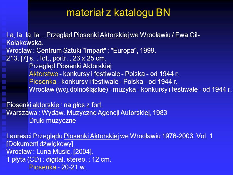 materiał z katalogu BN La, la, la, la... Przegląd Piosenki Aktorskiej we Wrocławiu / Ewa Gil- Kołakowska. Wrocław : Centrum Sztuki