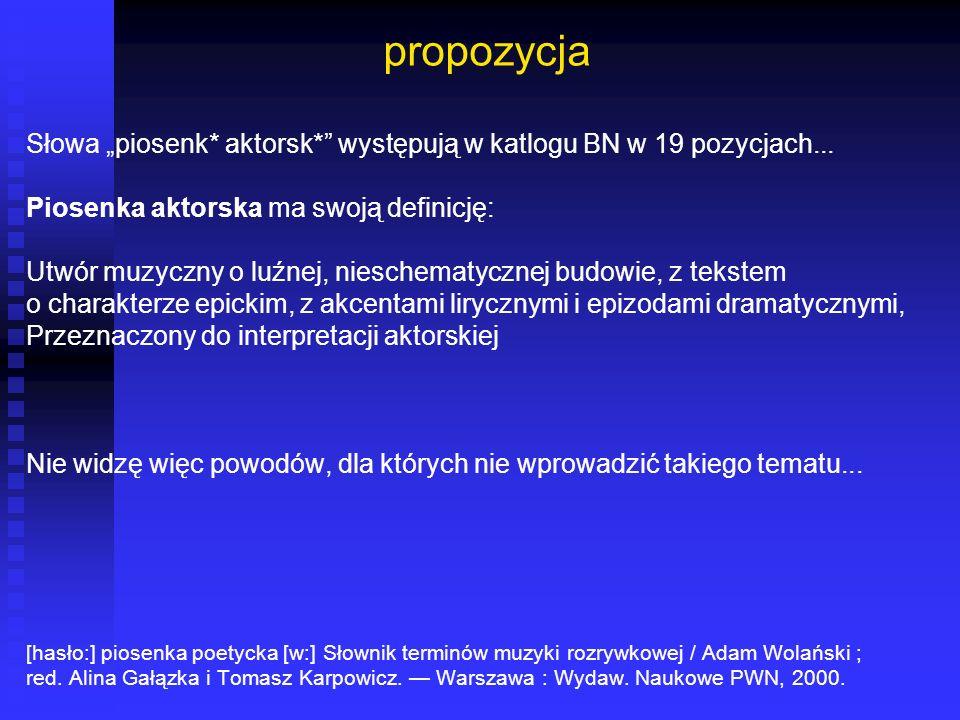 propozycja Słowa piosenk* aktorsk* występują w katlogu BN w 19 pozycjach... Piosenka aktorska ma swoją definicję: Utwór muzyczny o luźnej, nieschematy