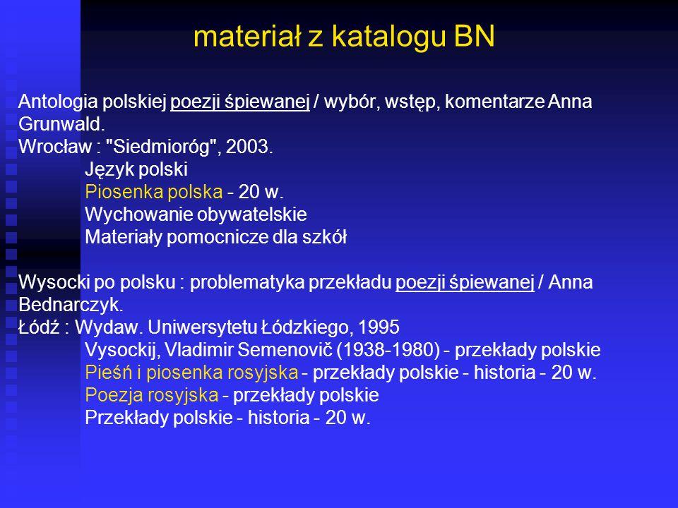 materiał z katalogu BN Antologia polskiej poezji śpiewanej / wybór, wstęp, komentarze Anna Grunwald. Wrocław :