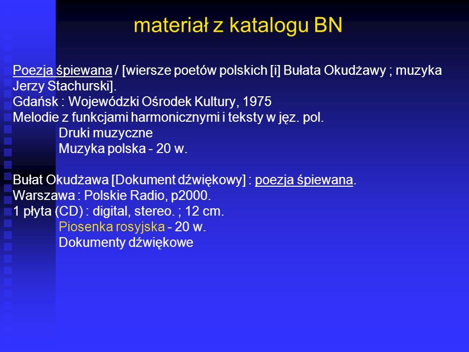 materiał z katalogu BN Poezja śpiewana / [wiersze poetów polskich [i] Bułata Okudżawy ; muzyka Jerzy Stachurski]. Gdańsk : Wojewódzki Ośrodek Kultury,