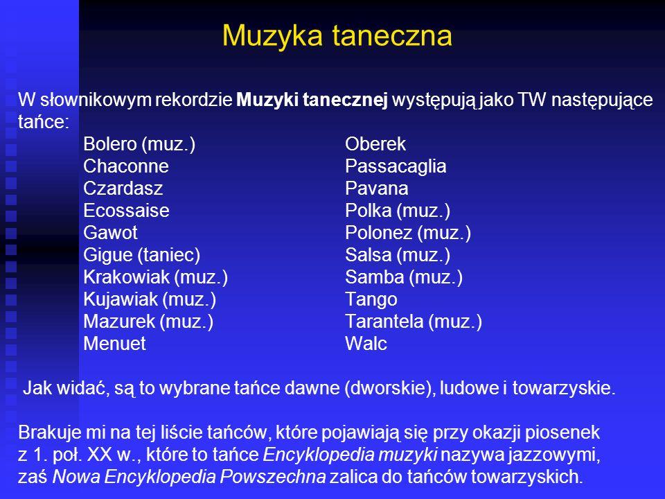 Muzyka taneczna W słownikowym rekordzie Muzyki tanecznej występują jako TW następujące tańce: Bolero (muz.) Oberek Chaconne Passacaglia Czardasz Pavan