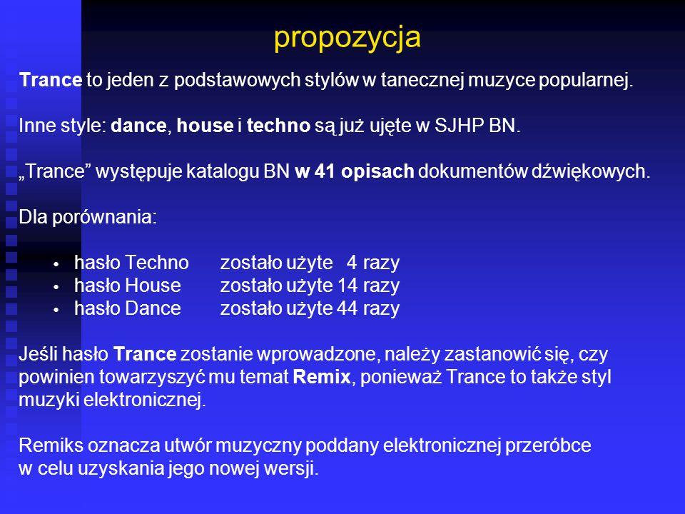 propozycja Trance to jeden z podstawowych stylów w tanecznej muzyce popularnej. Inne style: dance, house i techno są już ujęte w SJHP BN. Trance wystę