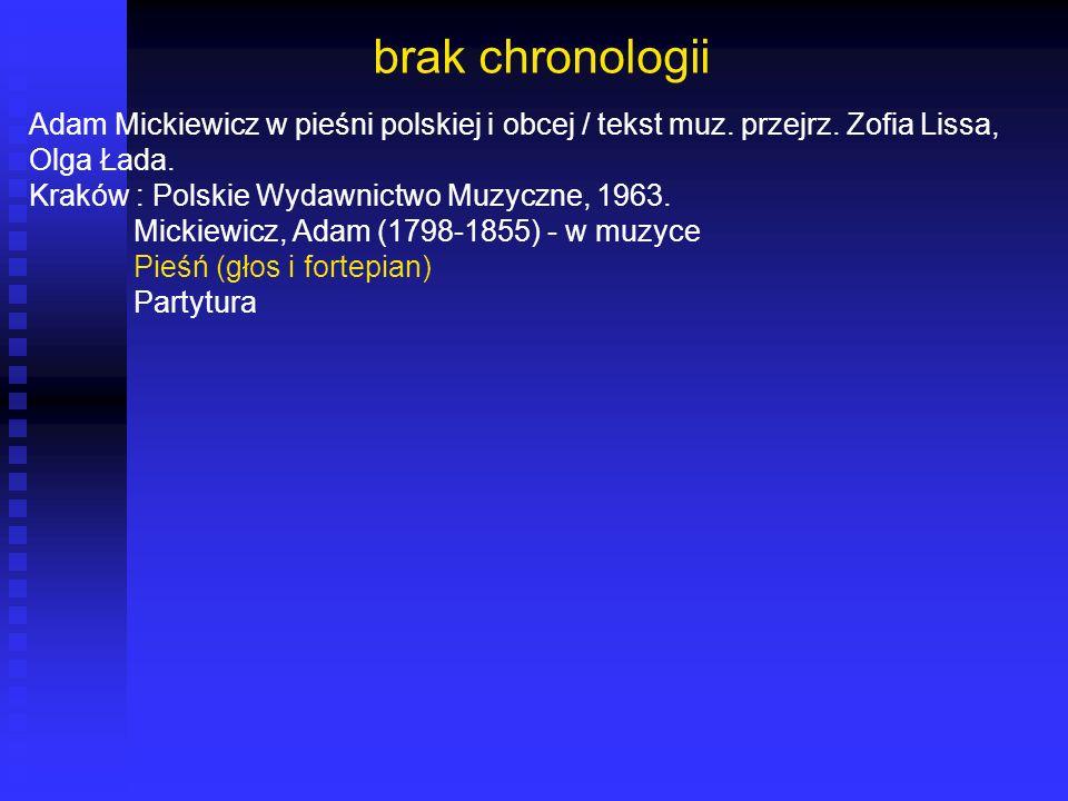 brak chronologii Adam Mickiewicz w pieśni polskiej i obcej / tekst muz. przejrz. Zofia Lissa, Olga Łada. Kraków : Polskie Wydawnictwo Muzyczne, 1963.