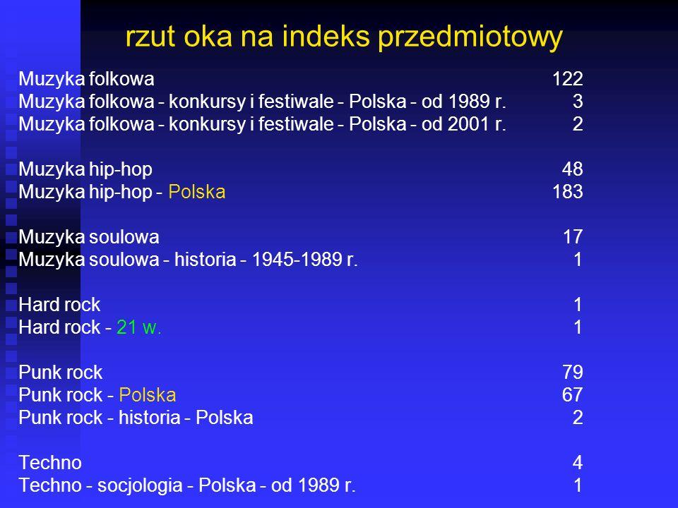 rzut oka na indeks przedmiotowy Muzyka folkowa122 Muzyka folkowa - konkursy i festiwale - Polska - od 1989 r. 3 Muzyka folkowa - konkursy i festiwale
