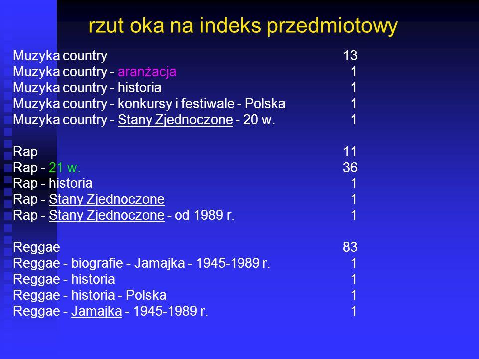 rzut oka na indeks przedmiotowy Muzyka country13 Muzyka country - aranżacja 1 Muzyka country - historia 1 Muzyka country - konkursy i festiwale - Pols