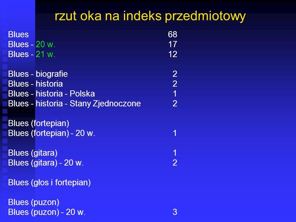 rzut oka na indeks przedmiotowy Blues68 Blues - 20 w.17 Blues - 21 w.12 Blues - biografie 2 Blues - historia 2 Blues - historia - Polska 1 Blues - his