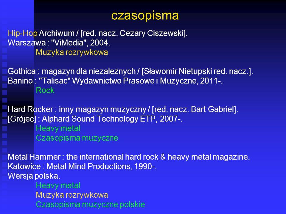 czasopisma Hip-Hop Archiwum / [red. nacz. Cezary Ciszewski]. Warszawa :