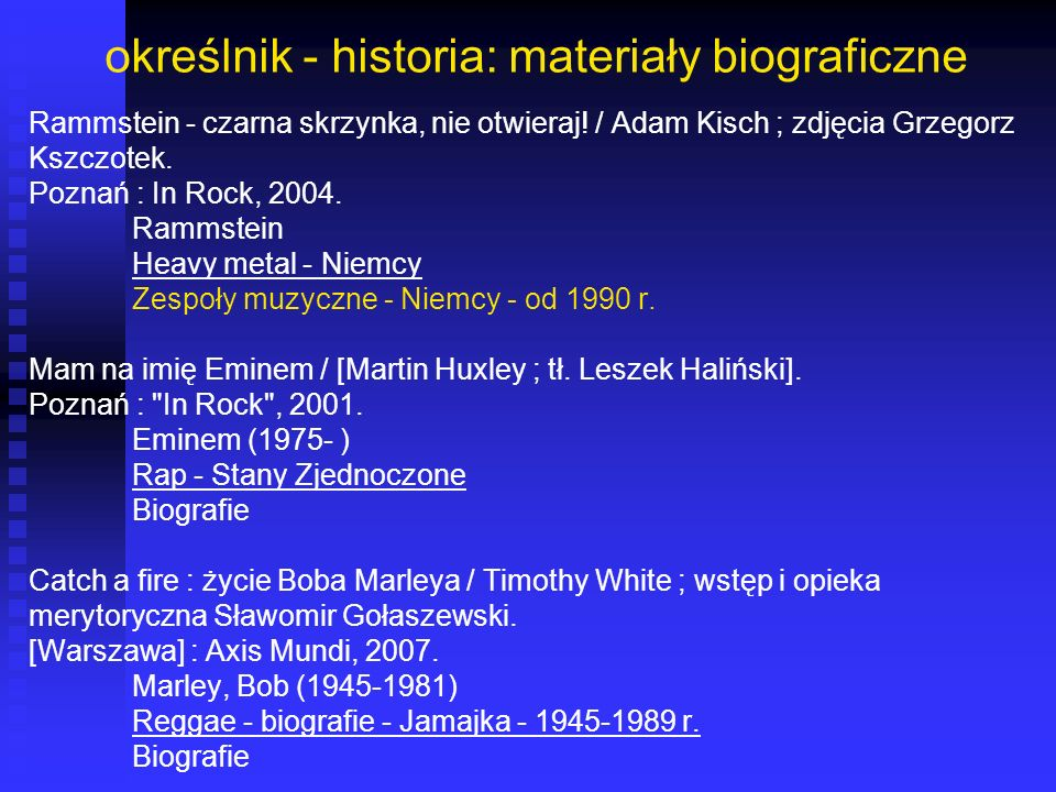 określnik - historia: materiały biograficzne Rammstein - czarna skrzynka, nie otwieraj! / Adam Kisch ; zdjęcia Grzegorz Kszczotek. Poznań : In Rock, 2