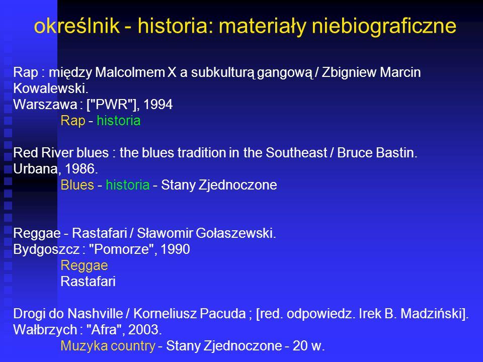 określnik - historia: materiały niebiograficzne Rap : między Malcolmem X a subkulturą gangową / Zbigniew Marcin Kowalewski. Warszawa : [