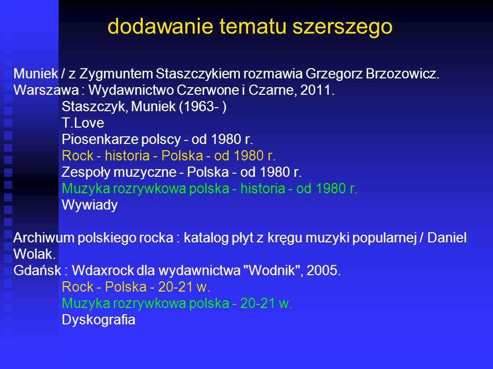 dodawanie tematu szerszego Muniek / z Zygmuntem Staszczykiem rozmawia Grzegorz Brzozowicz. Warszawa : Wydawnictwo Czerwone i Czarne, 2011. Staszczyk,