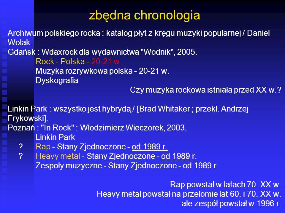 zbędna chronologia Archiwum polskiego rocka : katalog płyt z kręgu muzyki popularnej / Daniel Wolak. Gdańsk : Wdaxrock dla wydawnictwa