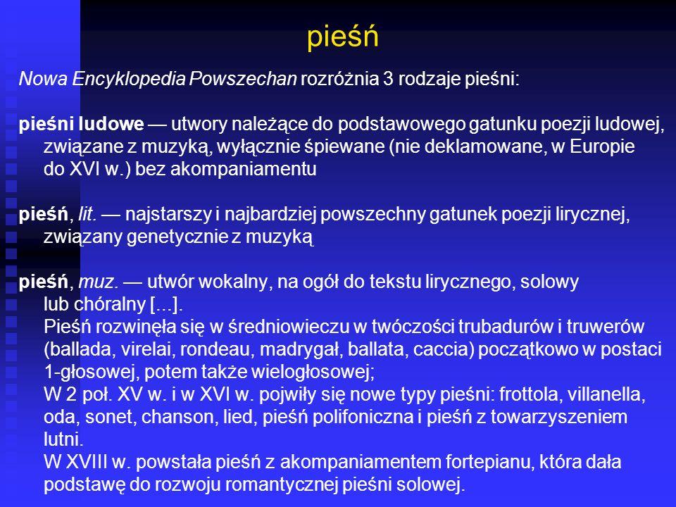 Pieśń (lit.) SJHP BN forma/gat.