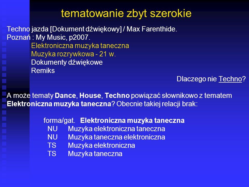 tematowanie zbyt szerokie Techno jazda [Dokument dźwiękowy] / Max Farenthide. Poznań : My Music, p2007. Elektroniczna muzyka taneczna Muzyka rozrywkow