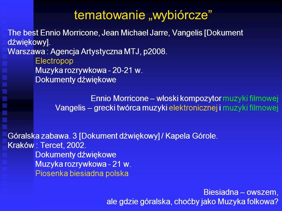 tematowanie wybiórcze The best Ennio Morricone, Jean Michael Jarre, Vangelis [Dokument dźwiękowy]. Warszawa : Agencja Artystyczna MTJ, p2008. Electrop