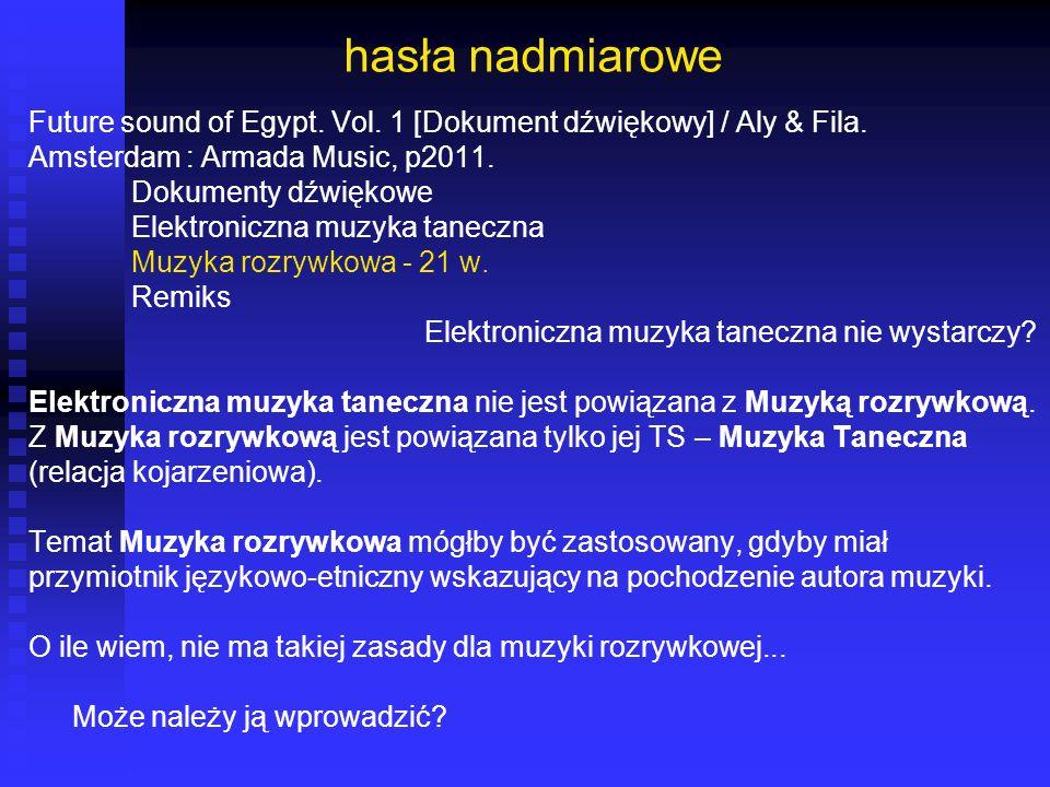 hasła nadmiarowe Future sound of Egypt. Vol. 1 [Dokument dźwiękowy] / Aly & Fila. Amsterdam : Armada Music, p2011. Dokumenty dźwiękowe Elektroniczna m