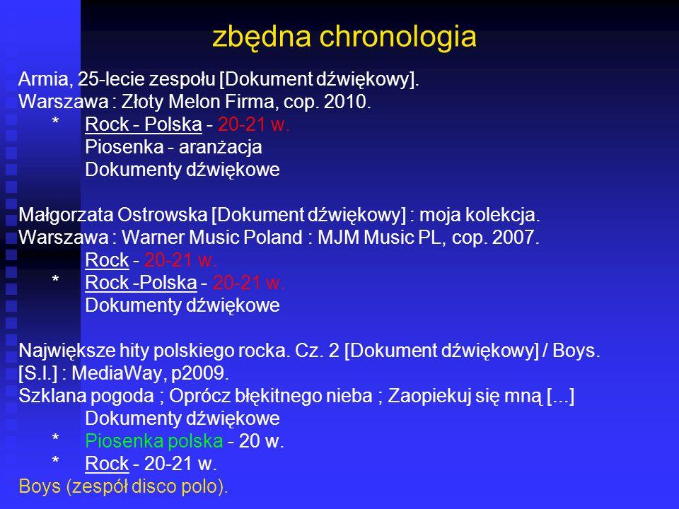 zbędna chronologia Armia, 25-lecie zespołu [Dokument dźwiękowy]. Warszawa : Złoty Melon Firma, cop. 2010. *Rock - Polska - 20-21 w. Piosenka - aranżac