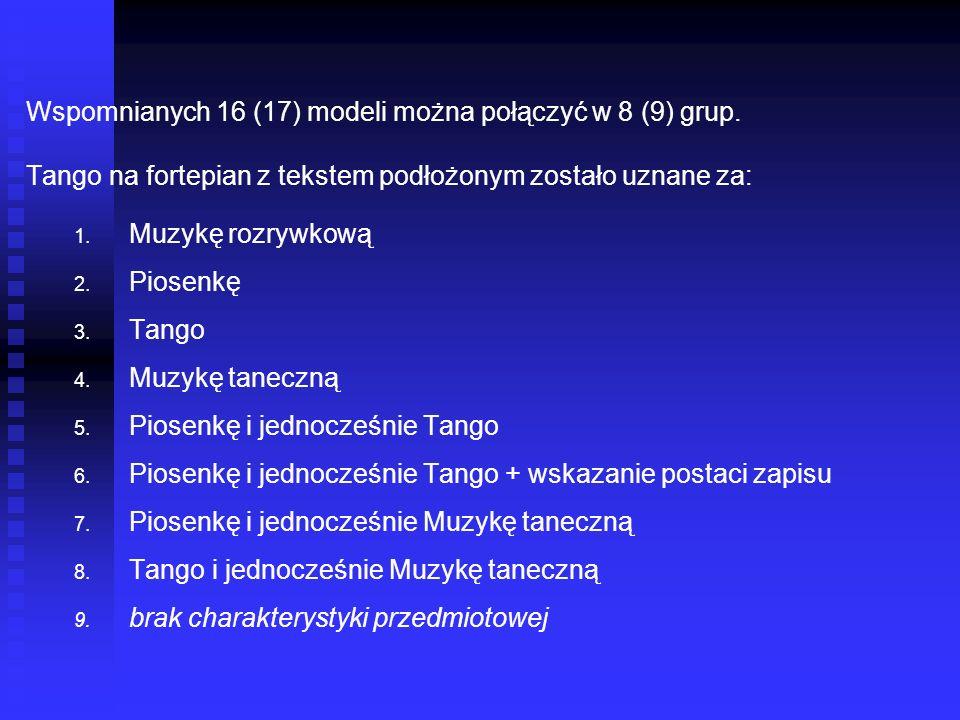 Wspomnianych 16 (17) modeli można połączyć w 8 (9) grup. Tango na fortepian z tekstem podłożonym zostało uznane za: 1. 1. Muzykę rozrywkową 2. 2. Pios