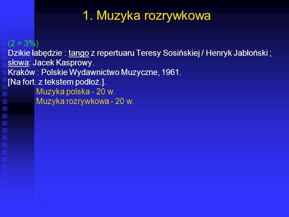 1. Muzyka rozrywkowa (2 = 3%) Dzikie łabędzie : tango z repertuaru Teresy Sosińskiej / Henryk Jabłoński ; słowa: Jacek Kasprowy. Kraków : Polskie Wyda