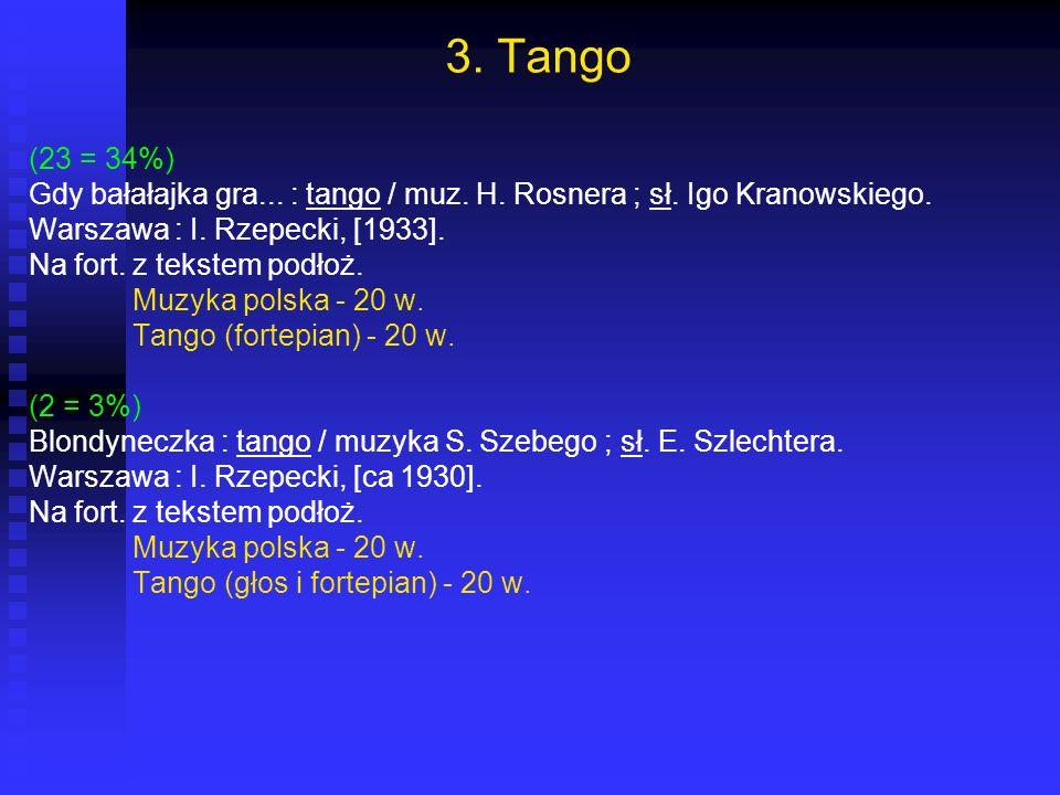 3. Tango (23 = 34%) Gdy bałałajka gra... : tango / muz. H. Rosnera ; sł. Igo Kranowskiego. Warszawa : I. Rzepecki, [1933]. Na fort. z tekstem podłoż.
