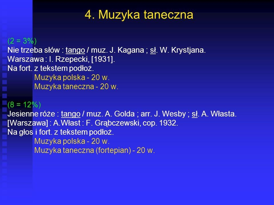 4. Muzyka taneczna (2 = 3%) Nie trzeba słów : tango / muz. J. Kagana ; sł. W. Krystjana. Warszawa : I. Rzepecki, [1931]. Na fort. z tekstem podłoż. Mu