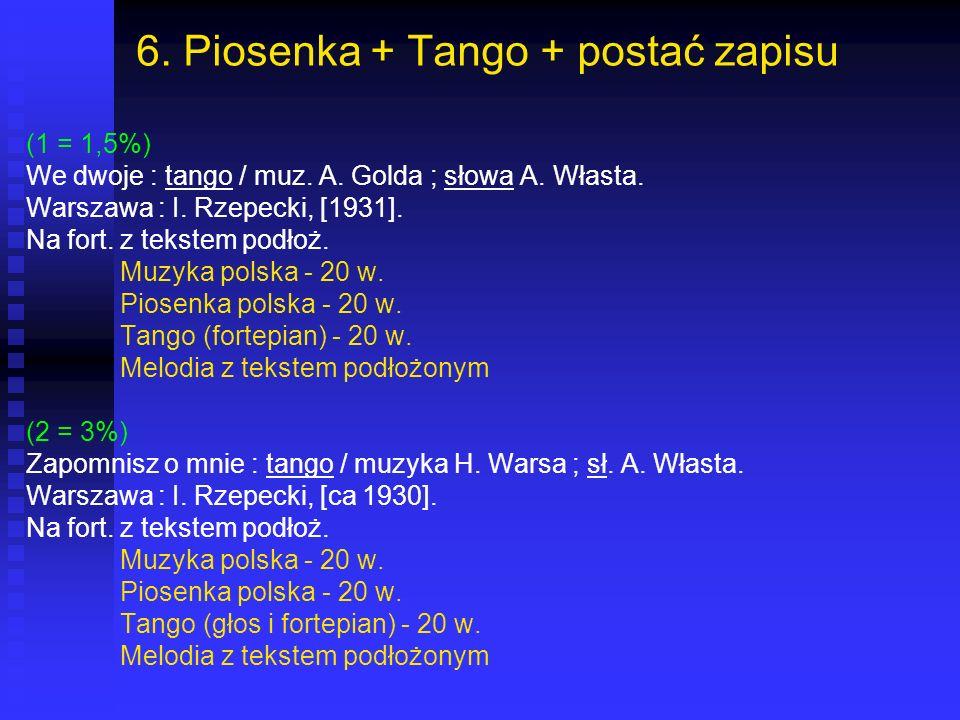6. Piosenka + Tango + postać zapisu (1 = 1,5%) We dwoje : tango / muz. A. Golda ; słowa A. Własta. Warszawa : I. Rzepecki, [1931]. Na fort. z tekstem