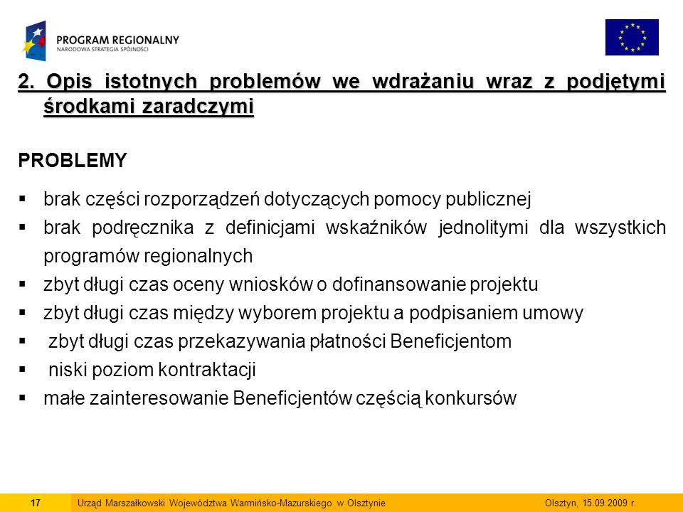 17Urząd Marszałkowski Województwa Warmińsko-Mazurskiego w Olsztynie Olsztyn, 15.09.2009 r. 2. Opis istotnych problemów we wdrażaniu wraz z podjętymi ś