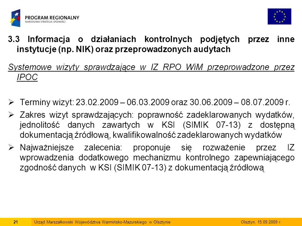 3.3 Informacja o działaniach kontrolnych podjętych przez inne instytucje (np. NIK) oraz przeprowadzonych audytach Systemowe wizyty sprawdzające w IZ R