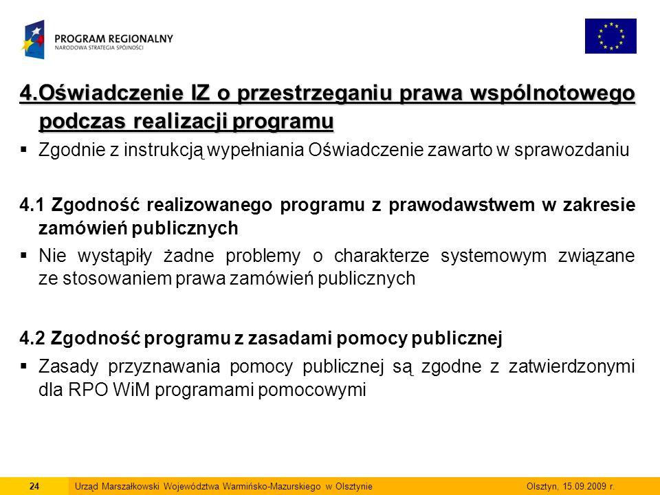 4.Oświadczenie IZ o przestrzeganiu prawa wspólnotowego podczas realizacji programu Zgodnie z instrukcją wypełniania Oświadczenie zawarto w sprawozdani