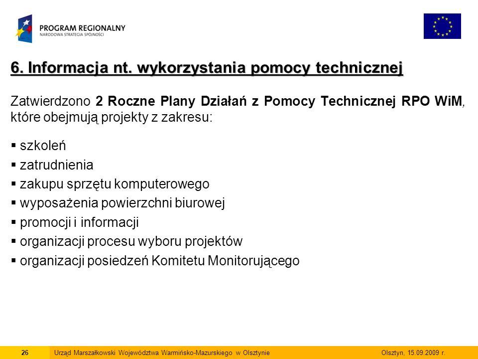 6. Informacja nt. wykorzystania pomocy technicznej Zatwierdzono 2 Roczne Plany Działań z Pomocy Technicznej RPO WiM, które obejmują projekty z zakresu