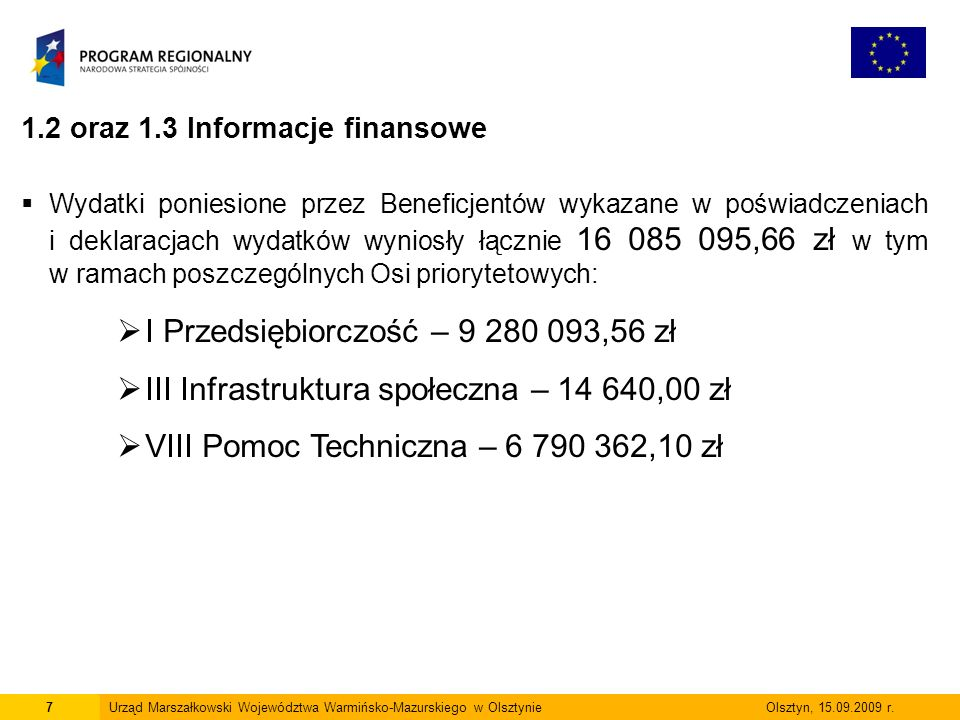 7Urząd Marszałkowski Województwa Warmińsko-Mazurskiego w Olsztynie Olsztyn, 15.09.2009 r. 1.2 oraz 1.3 Informacje finansowe Wydatki poniesione przez B