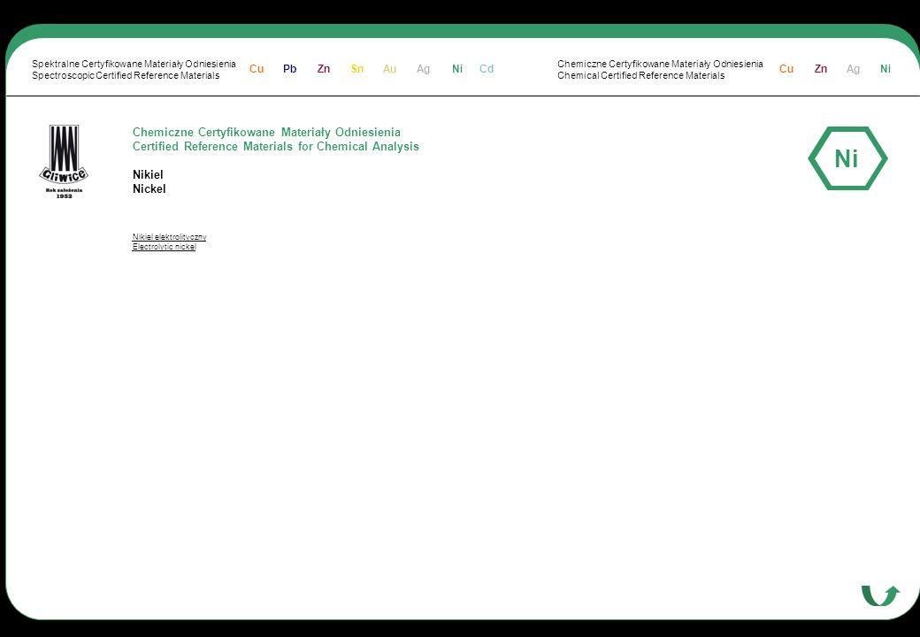 Chemiczne Certyfikowane Materiały Odniesienia Certified Reference Materials for Chemical Analysis Nikiel Nickel Nikiel elektrolityczny Electrolytic ni