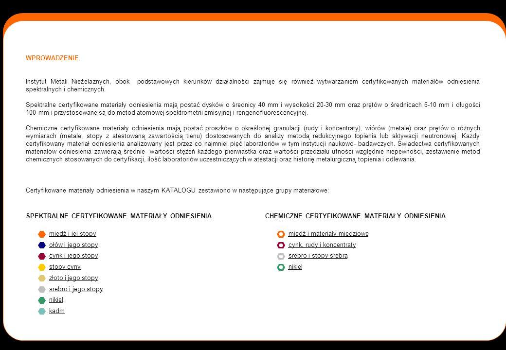 WPROWADZENIE Instytut Metali Nieżelaznych, obok podstawowych kierunków działalności zajmuje się również wytwarzaniem certyfikowanych materiałów odnies