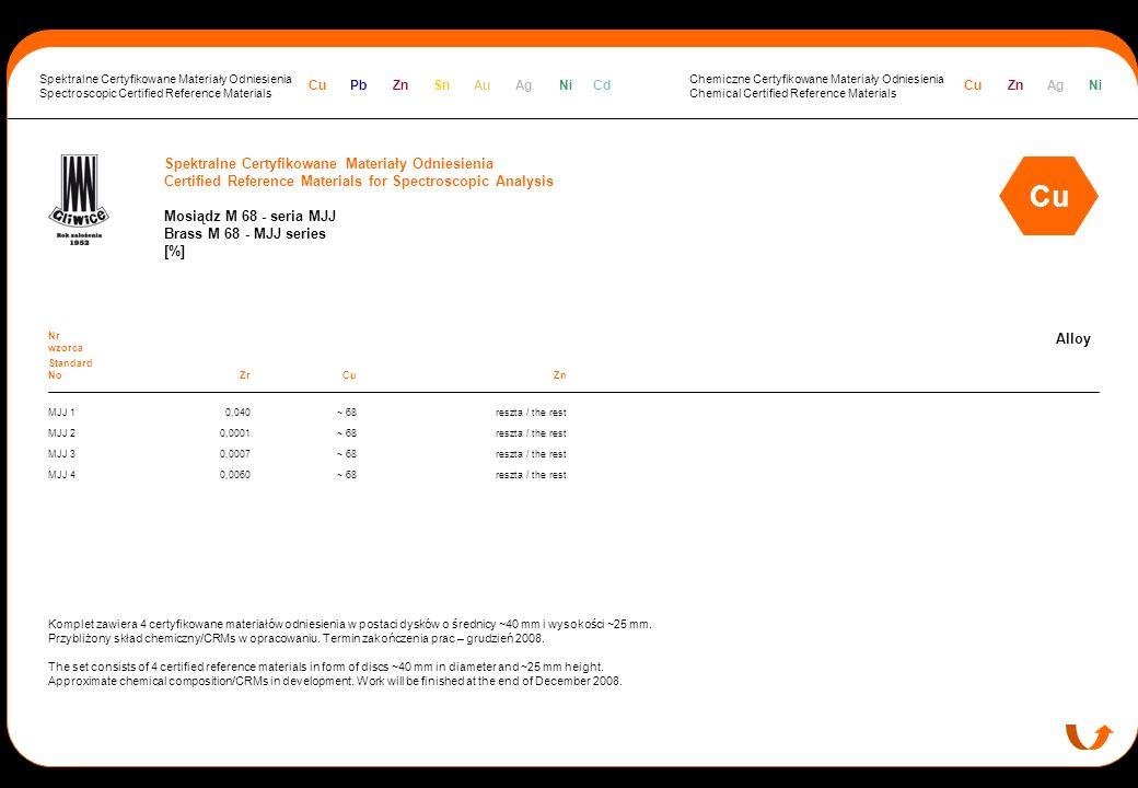 Spektralne Certyfikowane Materiały Odniesienia Certified Reference Materials for Spectroscopic Analysis Mosiądz M 68 - seria MJJ Brass M 68 - MJJ seri