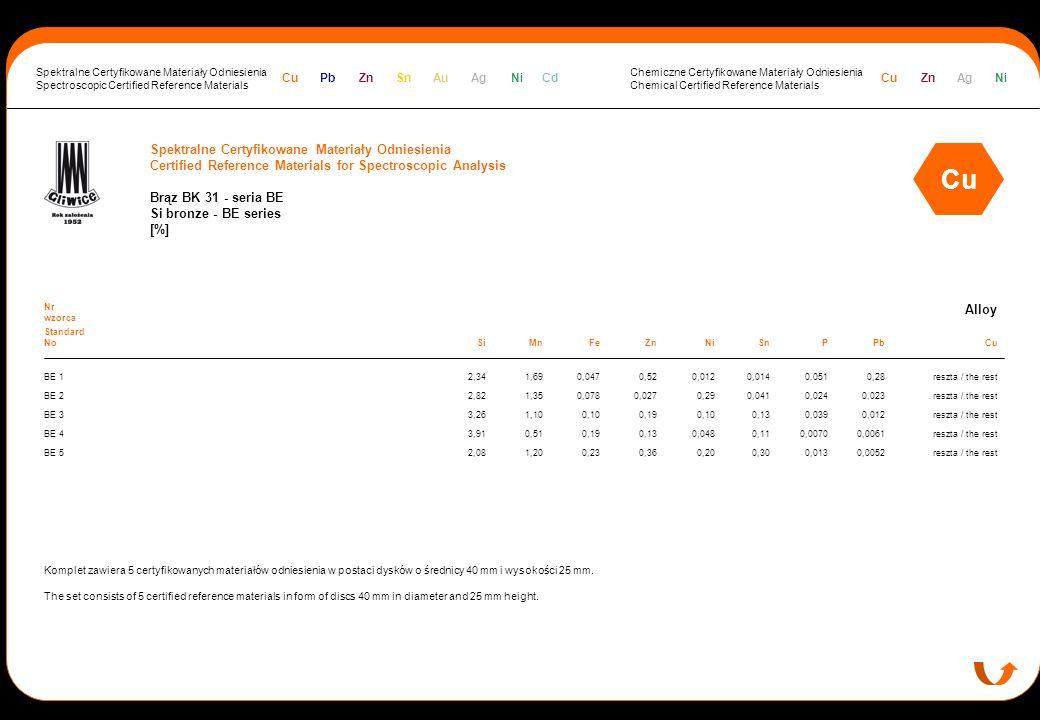 Spektralne Certyfikowane Materiały Odniesienia Certified Reference Materials for Spectroscopic Analysis Brąz BK 31 - seria BE Si bronze - BE series [%