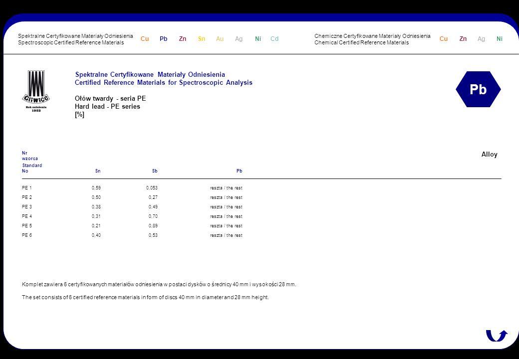 Spektralne Certyfikowane Materiały Odniesienia Certified Reference Materials for Spectroscopic Analysis Ołów twardy - seria PE Hard lead - PE series [