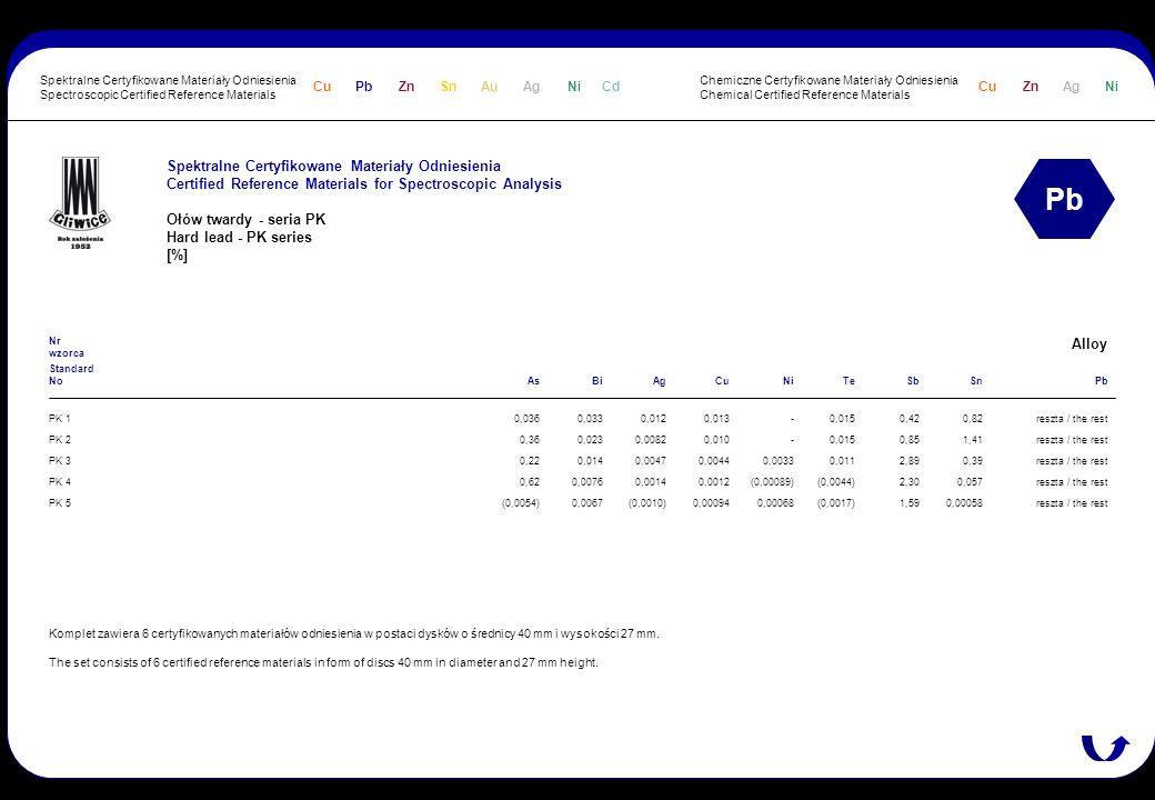 Spektralne Certyfikowane Materiały Odniesienia Certified Reference Materials for Spectroscopic Analysis Ołów twardy - seria PK Hard lead - PK series [